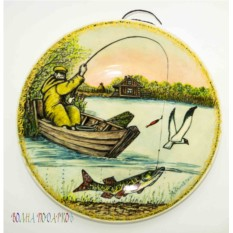 Настенная тарелка Рыбак в лодке