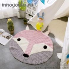 Круглый вязаный коврик с ушками Лисичка Фыр