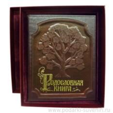 Светло-коричневая родословная книга в футляре Изысканная