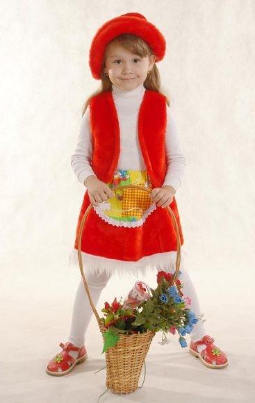 Карнавальный костюм Красная шапочка (шапочка, жилет, юбка)