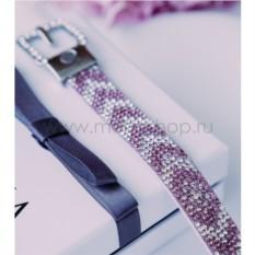 Замшевый розовый браслет «Ремешок»