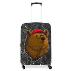 Чехол на чемодан 3D Медведь в очках