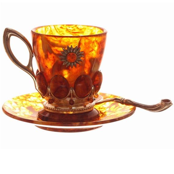 Кофейный набор из янтаря Солнышко