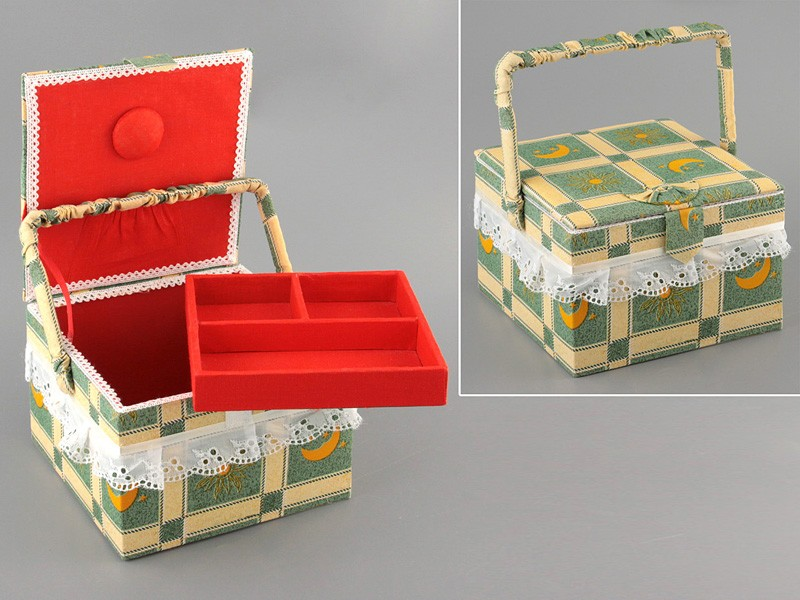 Шкатулка для рукоделия 19*19*13 см (корзинка для пикника)