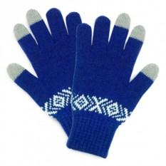 Темно-синие сенсорные перчатки с узором