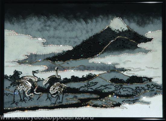 Картина с кристаллами Swarovski Пейзаж с журавлями