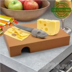 Разделочная доска и нож Мышка в домике