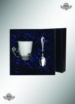 Серебряный набор: чашка чайная Куница + ложка кофейная Престиж