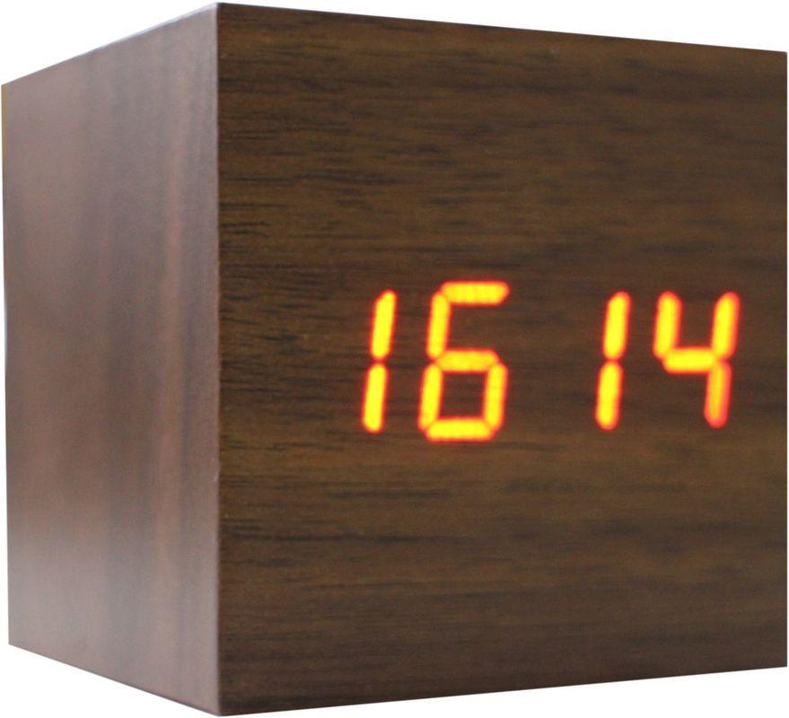 Деревянные LED-часы Куб