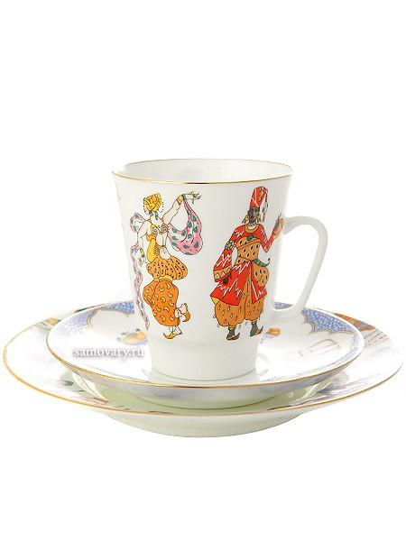 Кофейный комплект из чашки и двух блюдец Балет Шахеразада