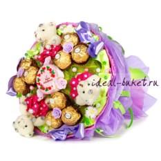 Мини-букет из конфет С днем рождения