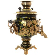 Электрический самовар с росписью Золотые цветы на черном