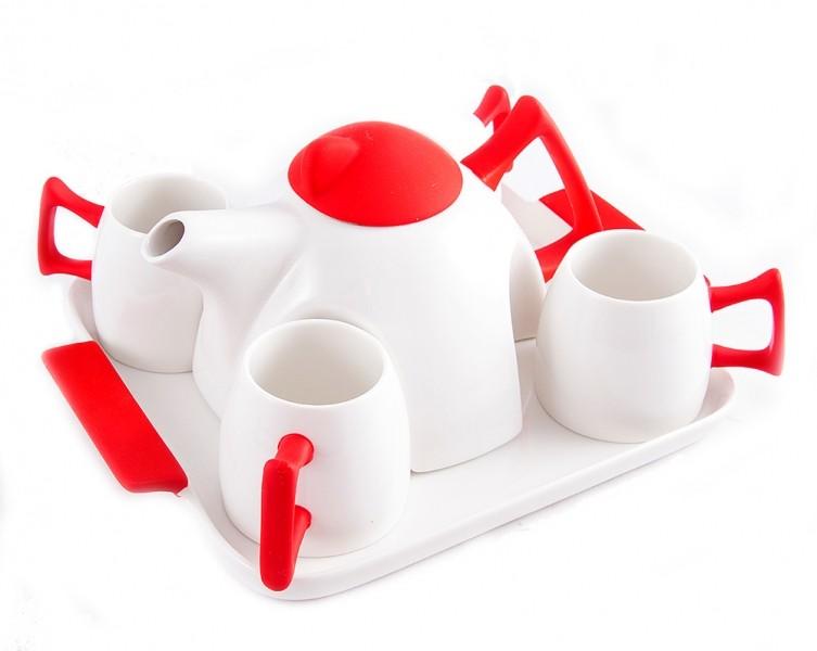 Красно-белый подарочный набор Чайный на 4 персоны