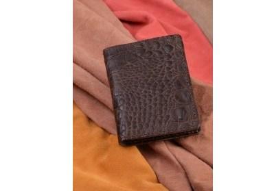 Горизонтальный кардхолдер – книжка. Коллекция Vignette (коричневый, крокодил; тип 2; нат. кожа)