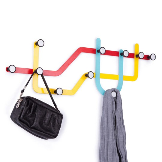 Настенная разноцветная вешалка Subway