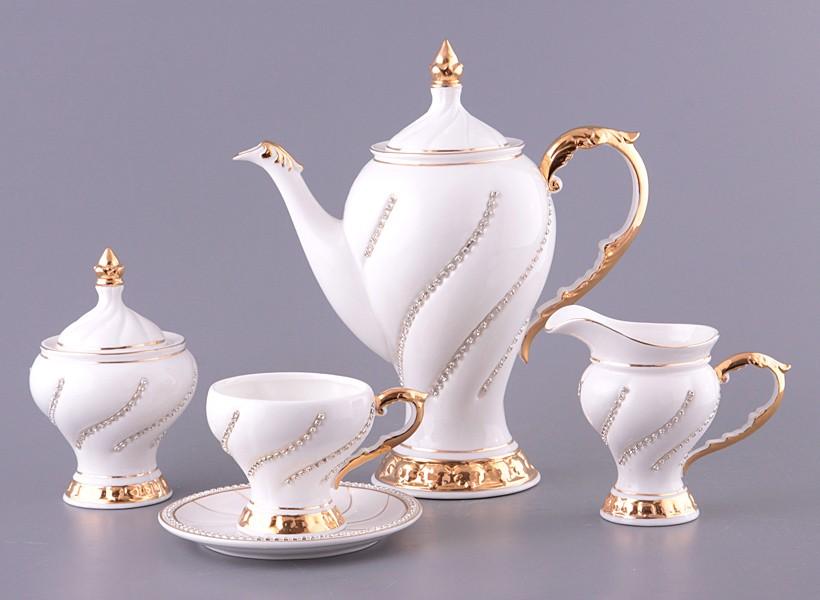Чайный сервиз на 6 персон, белый с золотыми линиями