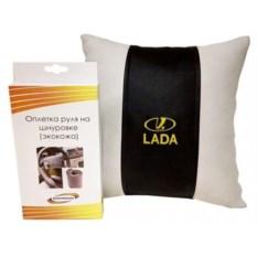 Подарочный набор (подушка, оплетка руля из экокожи), Lada