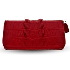 Красный кошелек на молнии из кожи хвоста крокодила