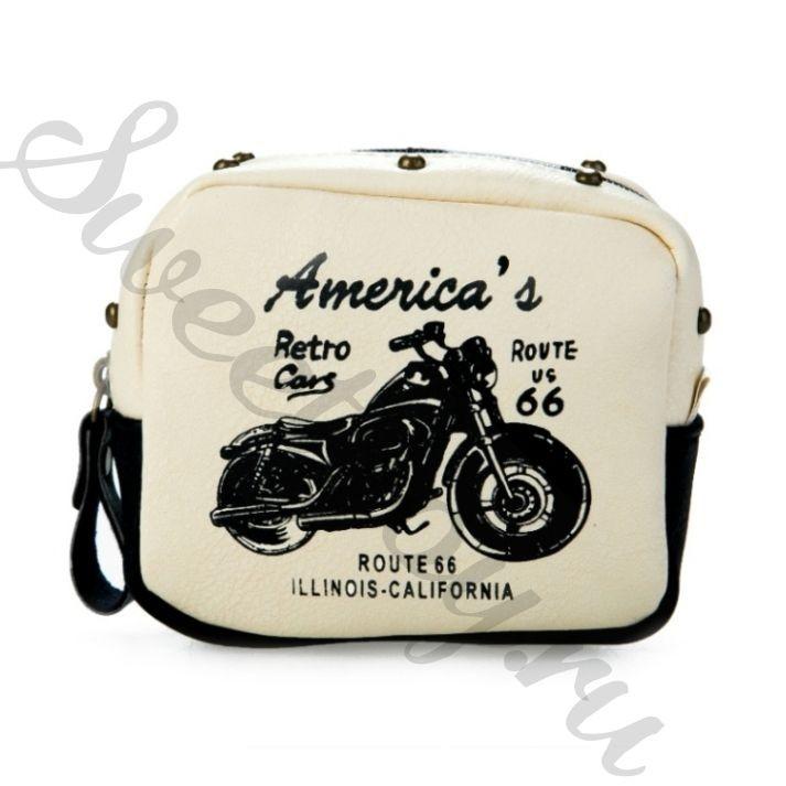 Кошелек Leather Moto Wallet – White