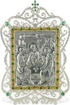 Серебряная настольная  икона Святая Троица