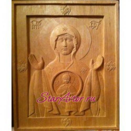 Икона Знамение (резьба по дереву)