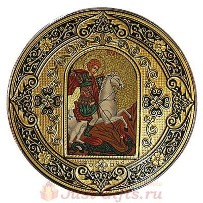 Декоративная тарелка икона Георгий Победоносец