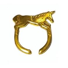 Позолоченное кольцо Единорог