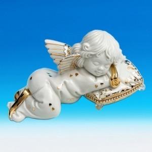 Коллекционная фарфоровая статуэтка Ангелочек на подушке