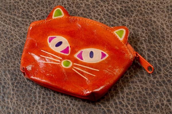 Монетница (кошечка, оранжевый, кожа)