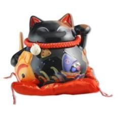 Копилка Черный сидячий японский кот Манеки-неко