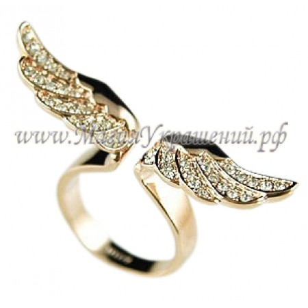 Кольцо Крылья Ангела с кристаллами Swarovski