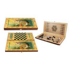 Настольная игра Рыбацкие: нарды, шашки , размер 50х25см