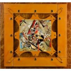 Картина из кожи В сером В.Кандинский ElolE Interior (коричнево-жёлтый)
