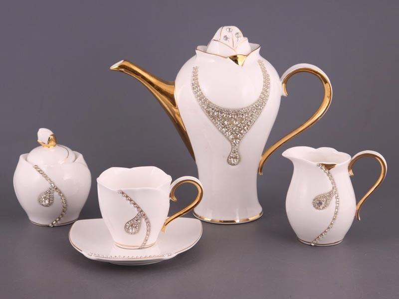 Чайный сервиз со стразами на 6 персон