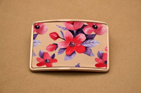 Пряжка для ремня Красно-фиолетовые цветы