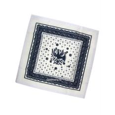 Бело-синяя салфетка Птица с кружевом