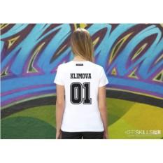 Женская именная футболка «Спортивный номер»
