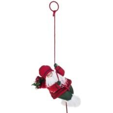 Новогоднее украшение Дед Мороз с елочкой на веревке