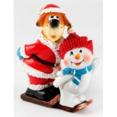 Декоративная фигурка Собачка и снеговик на лыжах