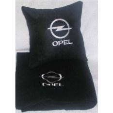 Черный плед с белой вышивкой Opel