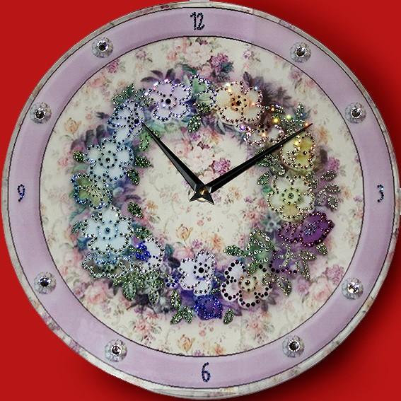 Часы с кристаллами Swarovski Цветочный орнамент