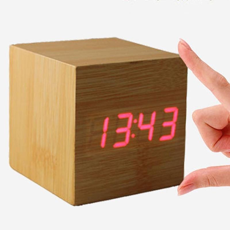 Часы-будильник Деревянный куб