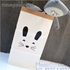 Эко-мешок для игрушек из крафт бумаги Кролик