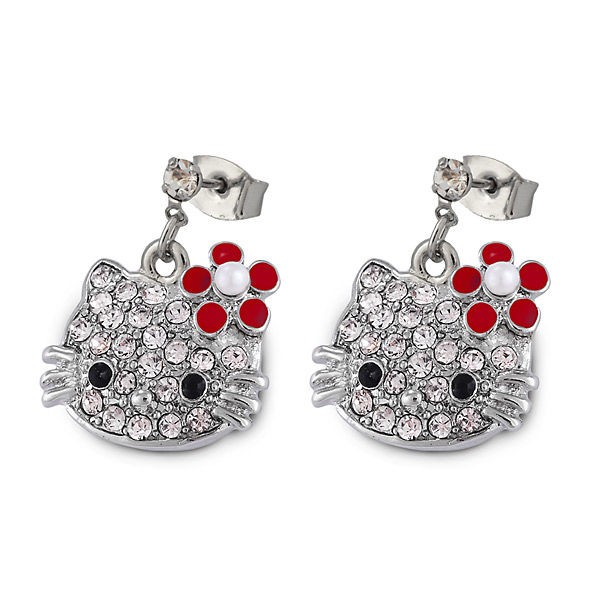 Серьги с кристаллами Swarovski Hello Kitty красные