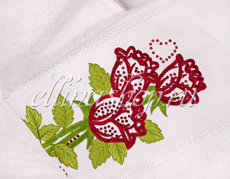 Полотенце Роза с камушками