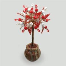 Дерево счастья из коралла и селенита