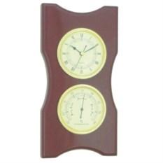 Настенные часы с термометром на деревянной подложке