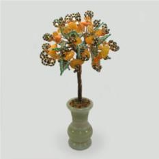 Дерево любви из сердолика в вазочке из оникса