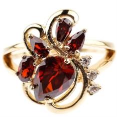 Позолоченное кольцо с гранатом и фианитом Лорэн