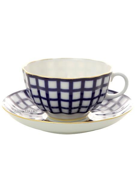 Чайный сервиз Кобальтовая клетка на 6 персон